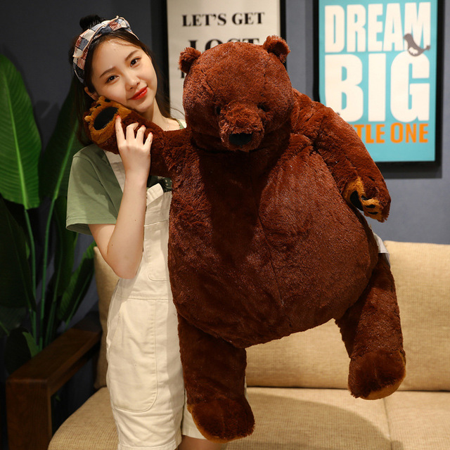 40-100cm INS Fuzzy Plush Brown Bear Stuffed Animal Companion Friend Ultra Soft Doll Friends Kids Gift Dropshipping 2