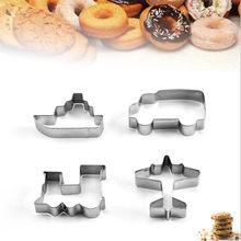 4 pièces véhicule emporte-pièce en acier inoxydable coupe bonbons Biscuit moule outils de cuisson voiture Train bateau pâtisserie gâteau Fondant coupe moule