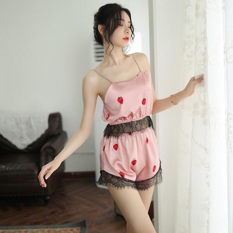 Women's Sleepwear Sexy Pajama Set Lace Sleeveless Kawaii Ladies Loingerie Sling Shorts Nightwear Sets