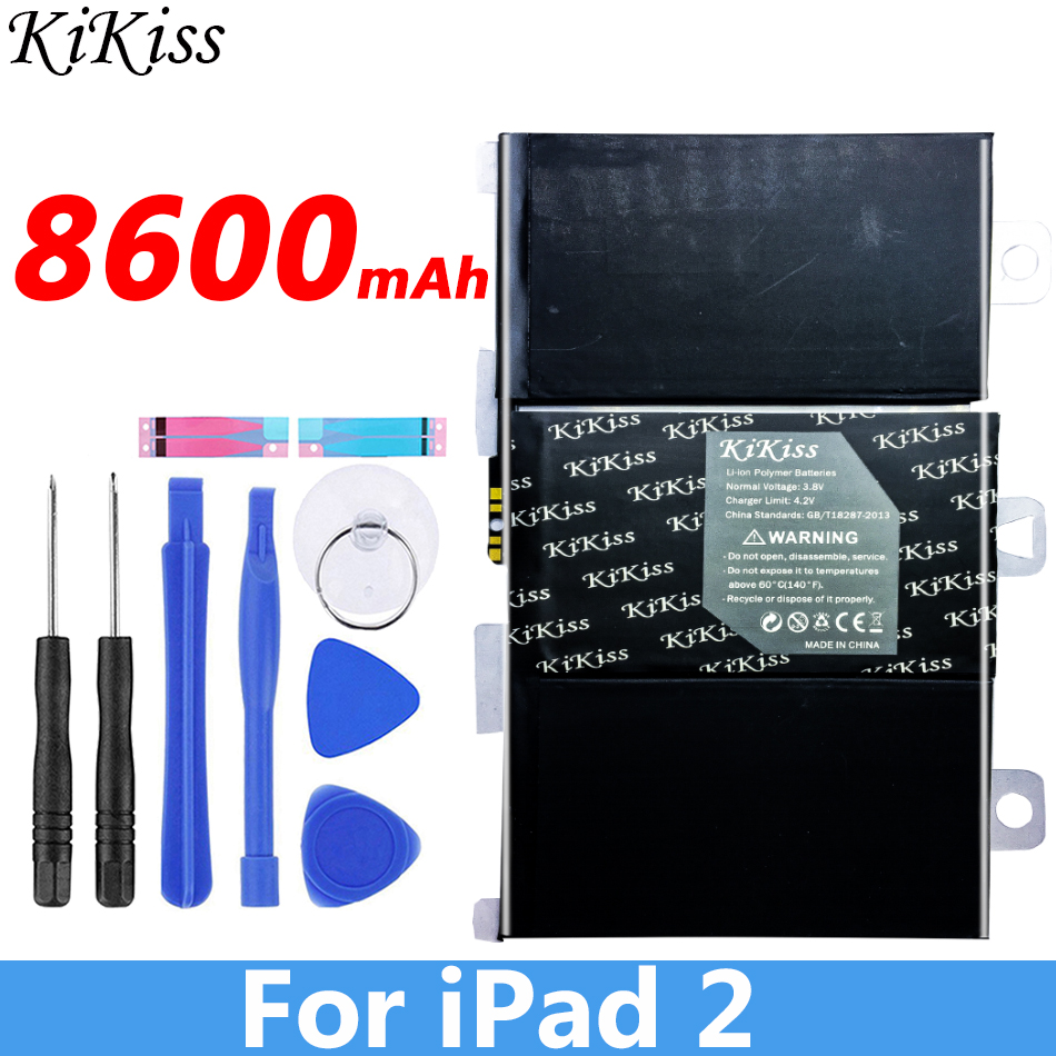 KIKISS 8600mAh A1395 <font><b>Battery</b></font> For iPad 2 ipad2 A1395 A1396 A1397 <font><b>A1376</b></font> A1316 Gift Tools stickers image