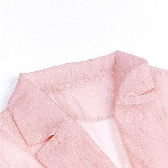 Blusas y Tops sexis elegantes para mujer, Camisa de gasa OL con cuello de pico para mujer, ropa de calle de malla transparente para oficina y fiesta, blusa femenina