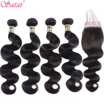 SATAI Body Wave Human Hair Bundles with Closure Natural Color 4 Bundles With Closure Brazilian Hair Weave Bundles Non-Remy Hair - DISCOUNT ITEM  51% OFF All Category