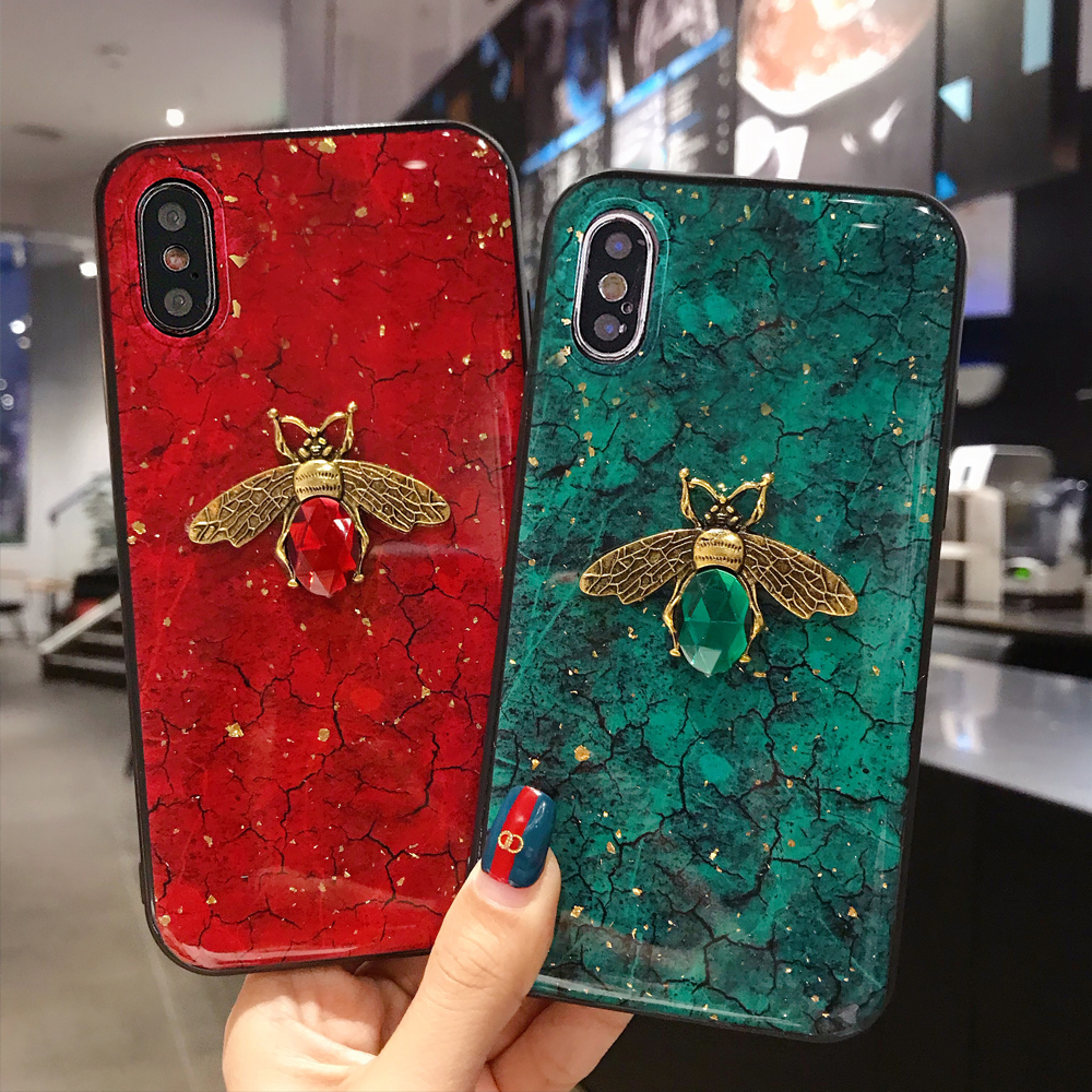 Bling Bee Phone <font><b>Case</b></font> For Xiaomi <font><b>redmi</b></font> Note 8 pro note 7 6 Note 5 4A 5A 5 Plus 6A 7 7A 8 8A S2 <font><b>K20</b></font> go Marble Glitter Cover coque image