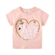 Летняя одежда для маленьких девочек топы футболки с лебедем