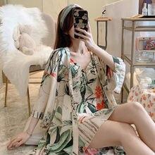 Женская пижама из 2021 хлопка и шелка одежда для сна на весну