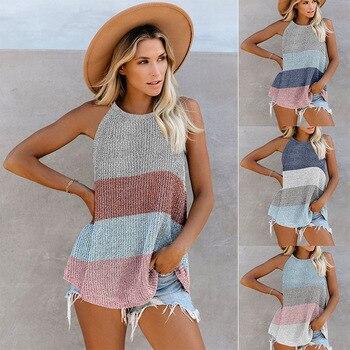 Womens Summer Vest Striped Streetwear Halter Neck Sleeveless Sexy Cami Panel Off Shoulder Mesh Cutout Woven Tank Top