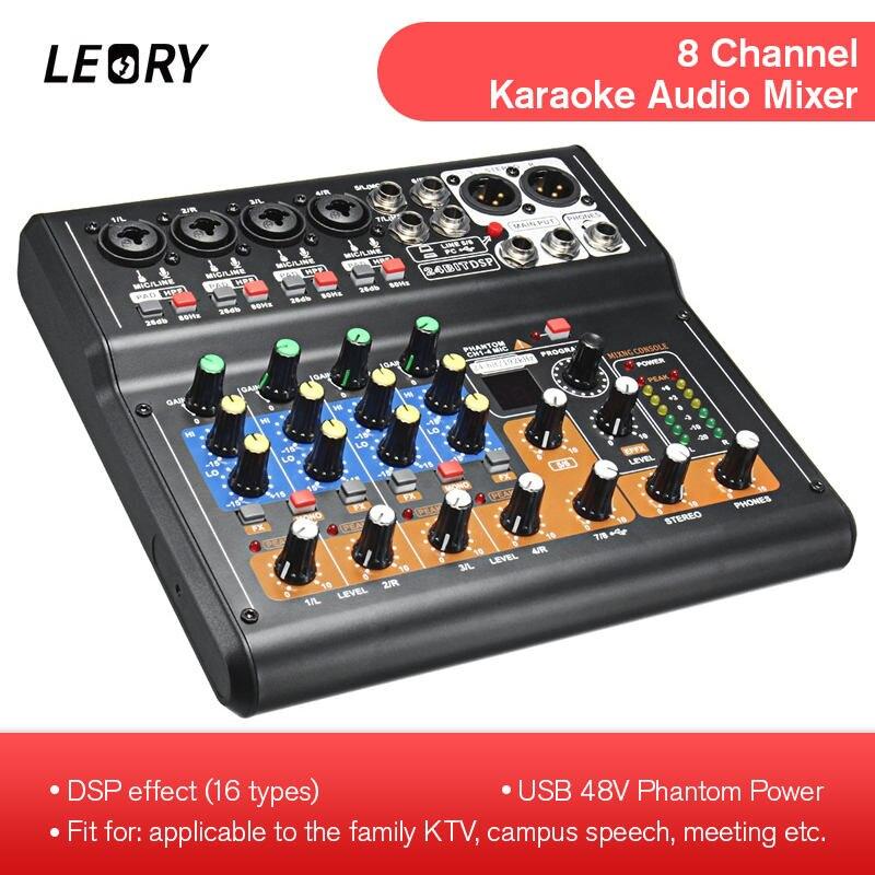 LEORY 8 Canais Console De Mixagem De Áudio Mini USB Digital Profissional DJ Mixer Com PAD Switches Efeito DSP Para Karaoke PC reunião