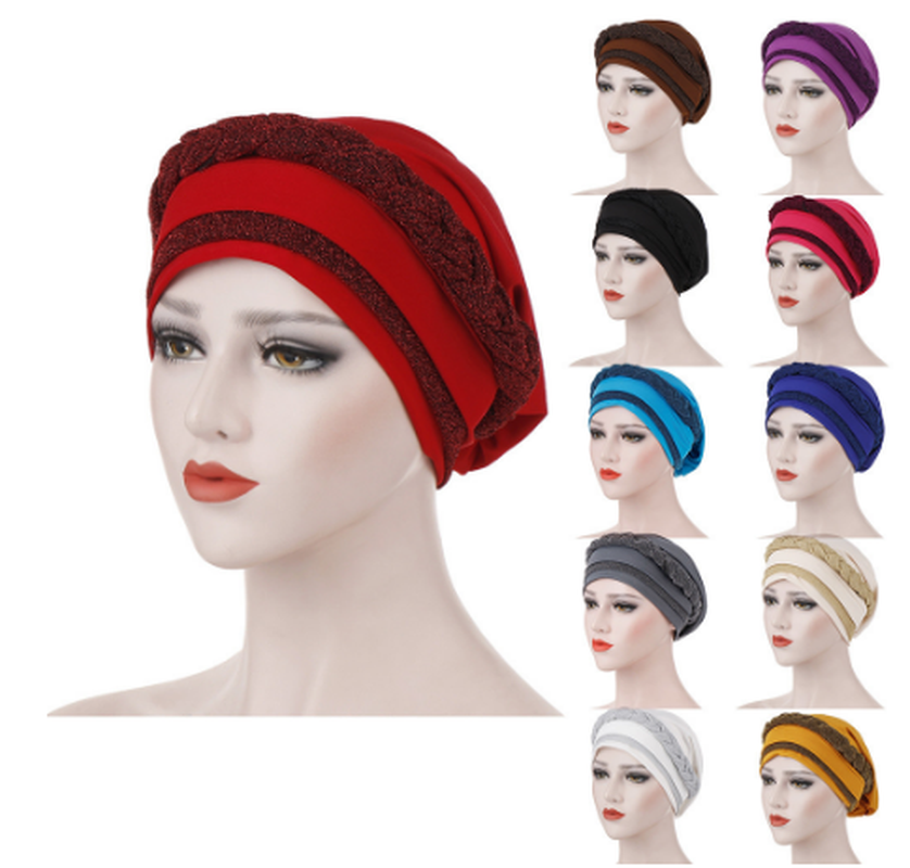 Solid Women Muslim Frontal Cross Bonnet Turban Hat Chemo Cap Head Scarf Headwrap Femme Musulman Turbantes