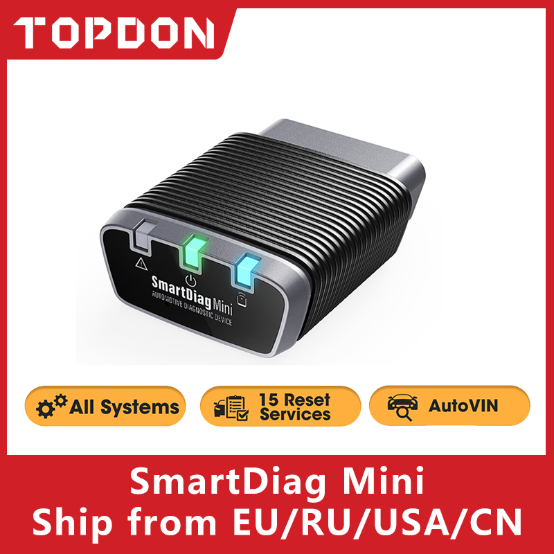 Topdon SmartDiag Mini OBD2 Bluetooth Scanner Automotive OBD2 Car Diagnostic Tool TPMS SRS Immo Key Code Reader PK Thinkcar Autel