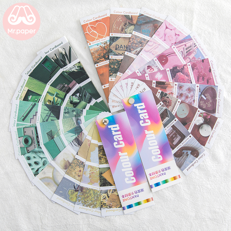 Mr.paper 24pcs/pack Ins Style Gradual Change Pantone Color Card Stickers Creative Bullet Journal Scrapbooking Deco Stickers