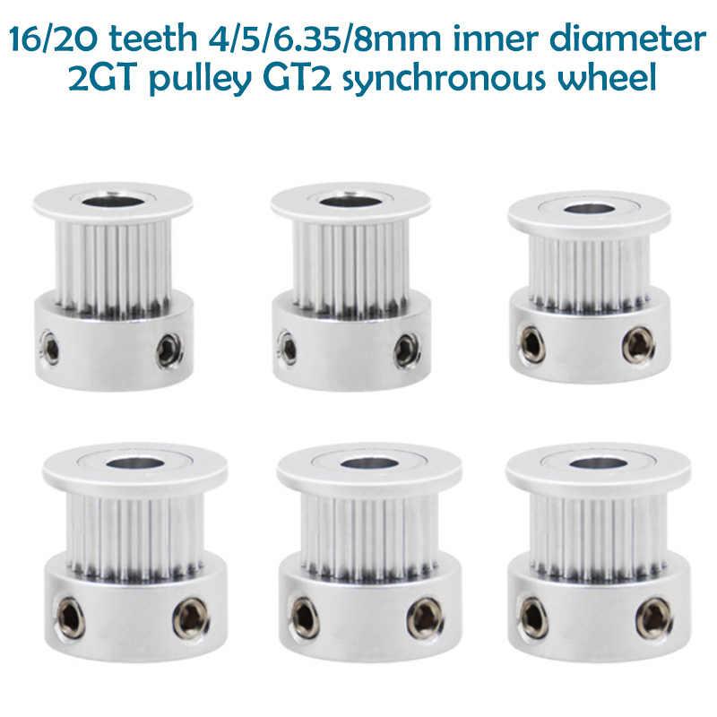 3D yazıcı parçaları GT2 zamanlama kasnağı 16 diş 2GT 20 diş alüminyum çap 4mm/5mm/6mm /6.35mm/8mm senkron tekerlekler dişli parçası