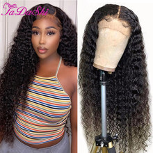 Hair Deep Curly 4x4 Closure Wig Human Hair Lace Front Wigs T Part 180% Density Pre Plucked Bleached Knots Wigs 13x1 Lace Wig
