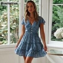 цены на Floral Boho Beach Dress Women Summer Buttons V Neck Short Sleeve Flower Print Ruffles Short Mini Dress Holiday Sweet Sundress  в интернет-магазинах