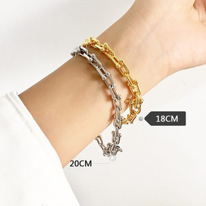Image 4 - を高品質uはバングルローズゴールド色ビジューブレスレット女性と男性のファッションジュエリーDJ1400