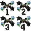 6 шт. цифры-шары, черный геймпад, игра на мальчика, фольгированный шар, украшения для дня рождения, детская игрушка, реквизит для матча, игрово...