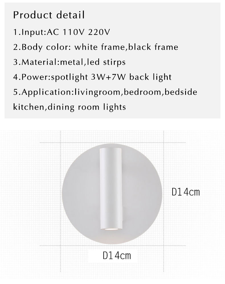 Moderna lâmpada de parede led com interruptor