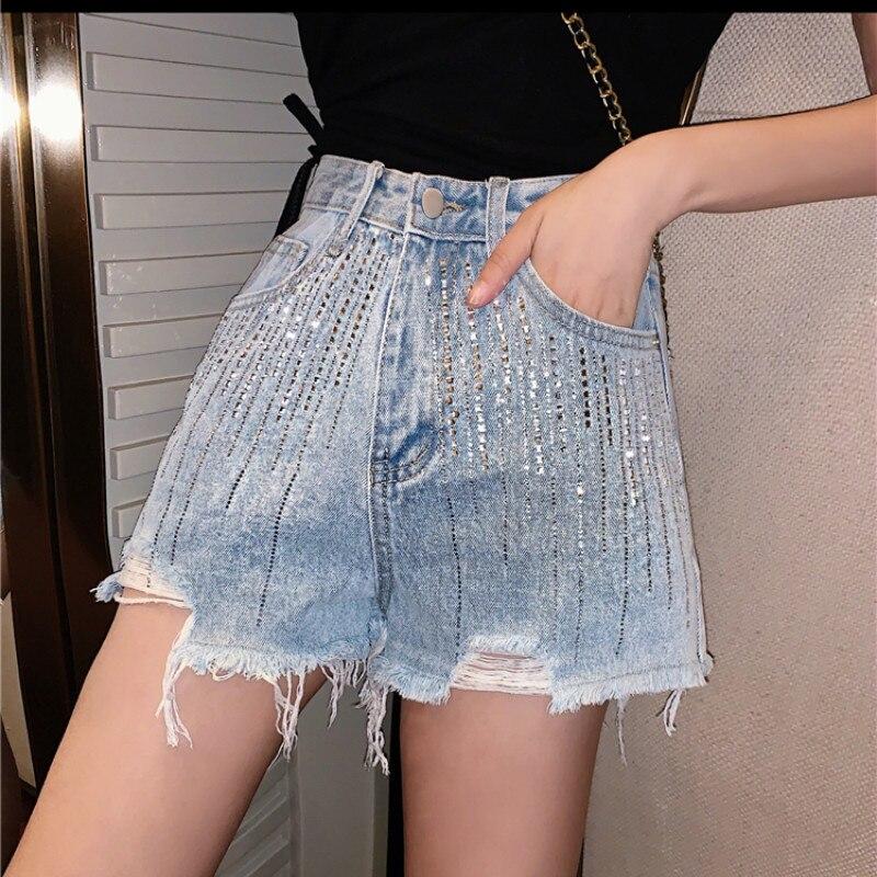 FNPE Korean Denim Shorts Womens 2019 New Popular High Waist Jeans Loose Moustache Effect  Boyfriend for Women