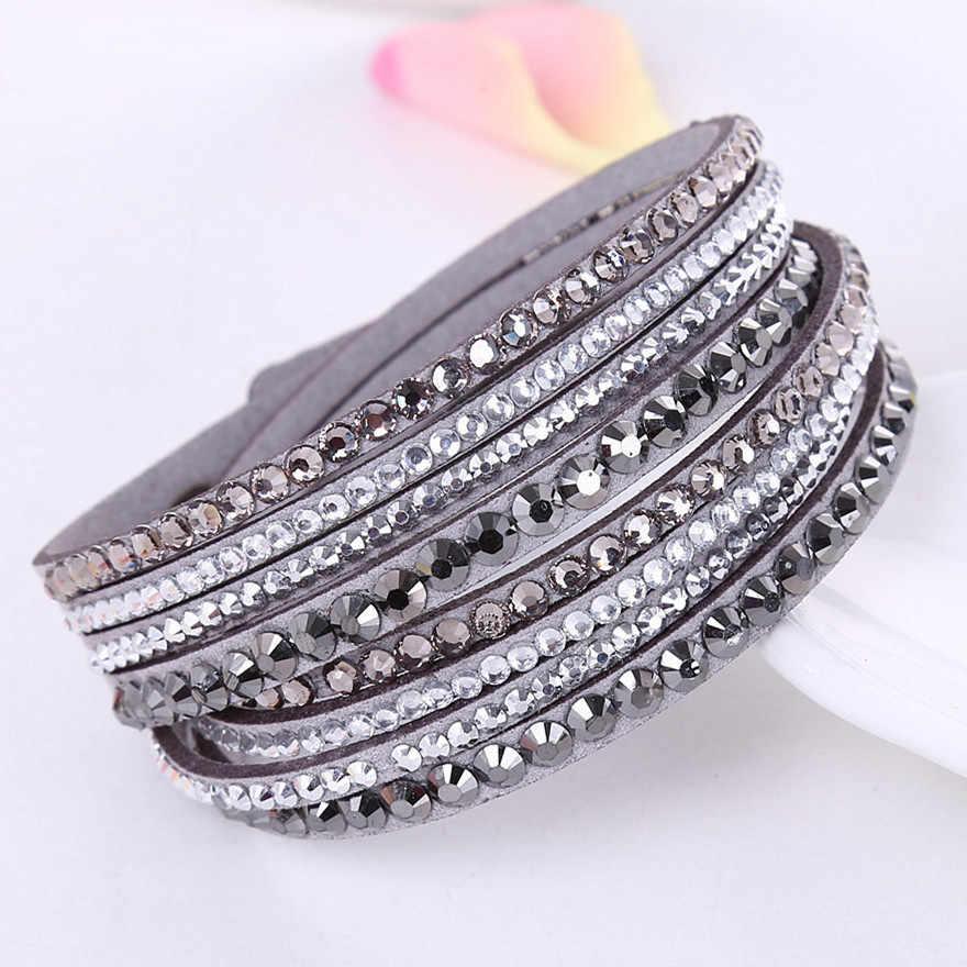 2019 nowa skórzana bransoletka Rhinestone kryształowa bransoletka wielowarstwowa z charmsami bransoletki dla kobiet biżuteria