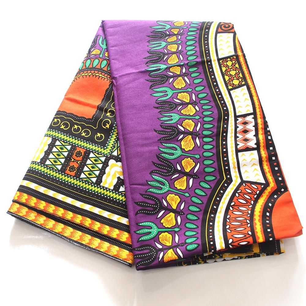 2019 Newest 100% Cotton African Dashiki Pattern Printed Purple Color Africa Ankara Fabric