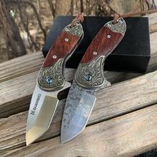 SAMSEND Damascus folding knife parrot folding knife key chain outdoor portable mini collection knife