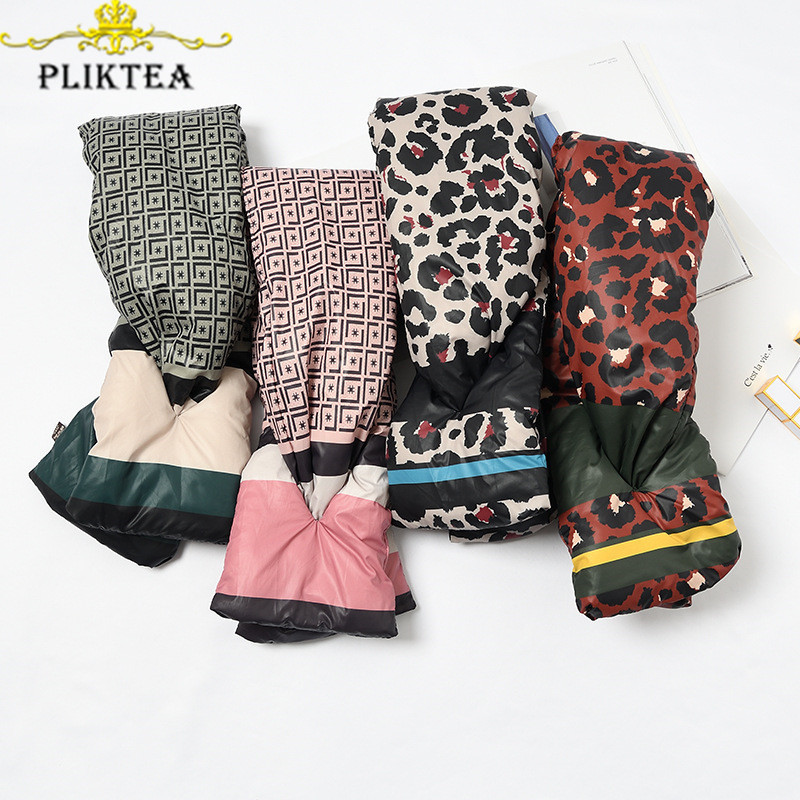 Leopard Letter Striped Patchwork Plaid Scarf For Women Cotton Down Winter Thick Ring Scarves Korean Ladies Female Neck Scarf