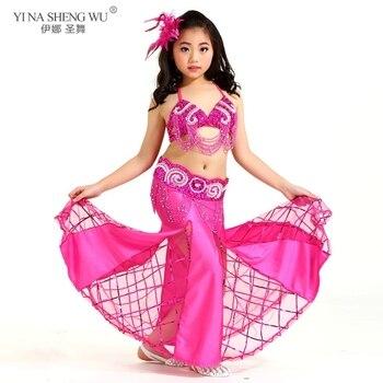 New Belly Dance Costume Performance Wear Girls Dance Children Bellydance Dancing 3pcs Bra&Belt&Skirt Set Clothes For Kids