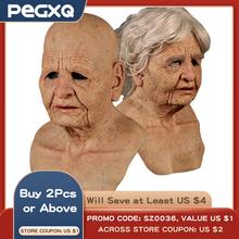 Stary człowiek straszny hełm z maską Cosplay straszny na całą głowę maska lateksowa Halloween Horror zabawny na imprezę Cosplay maska stary człowiek głowa hełm z maską s tanie tanio CN (pochodzenie) Old man woman mask helmet