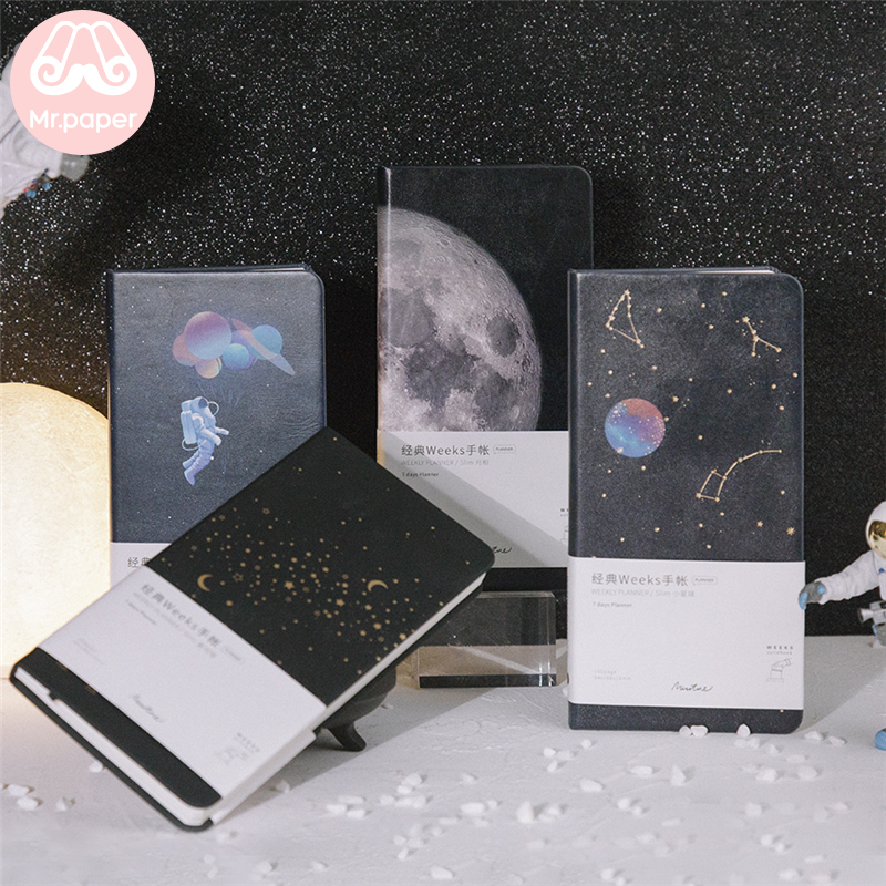 Mr Paper PU Leather Cover Pocket Notebook Moon Planet Stars Recording Journal Yearly Monthly Weekly Daily Planner Easy To Carry