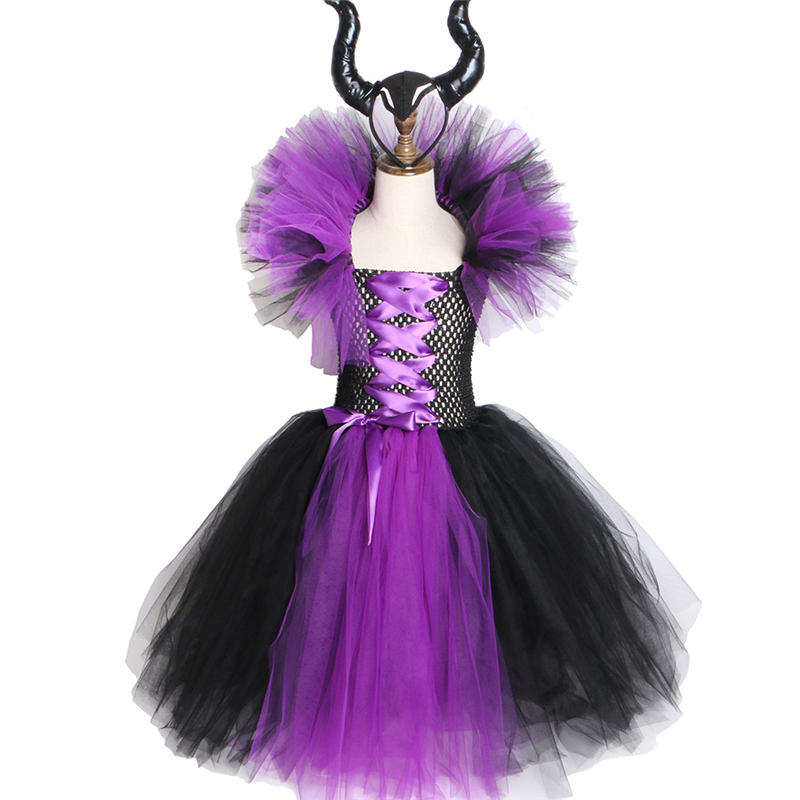 Maleficent Evil Queen Girls Tutu Dress with Horns Halloween Cosplay Witch Costume for Girls Kids Halloween Clothing Set