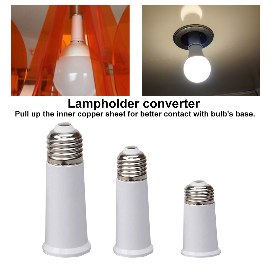 E27 To E27 Lengthen Lamp Base Converter LED Light Base E27-E27 Extender Lamp Socket Extension Light Bulb Holder Screw Adapter