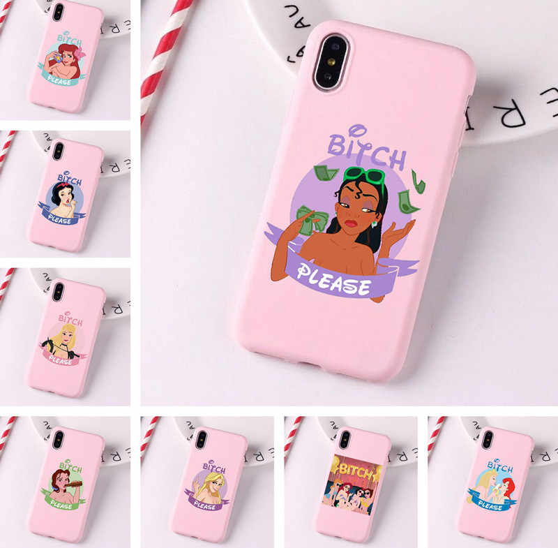 L'onu they bitches con las princesitas Disney en silicone souple étui pour iphone 6 6s 6splus 7plus 8plus X XR XS XSMAX 11 Pro