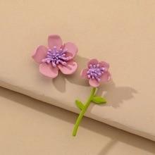Korea Cute Sweet Purple Flower Stud Earrings Irregular Colour Flower Asymmetry Earrings Daily Jewelry for Women