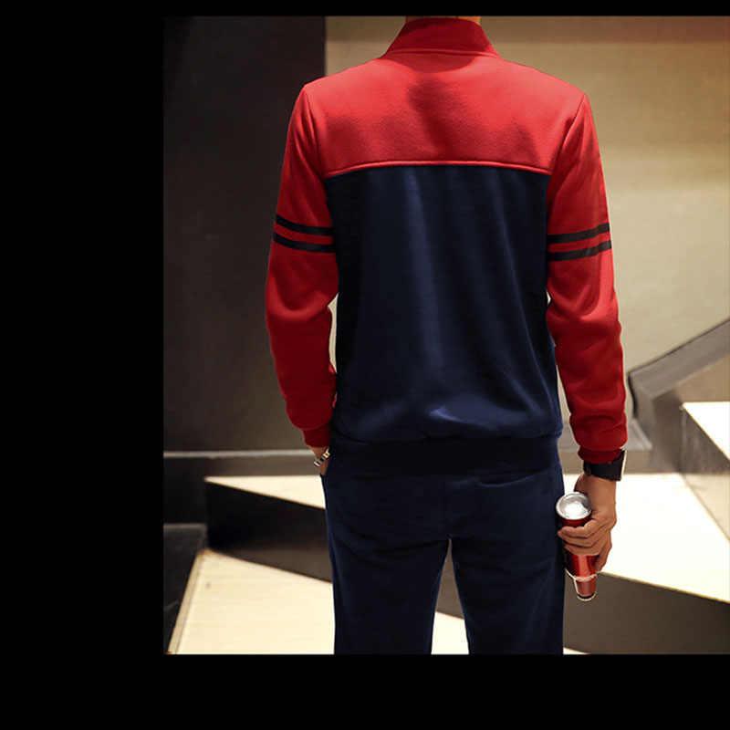 Wiosna jesień dres zestaw mężczyźni modne ciuchy zestawy bluzy męska z zamkiem błyskawicznym bluzy + spodnie dresowe męskie sportowe dresy