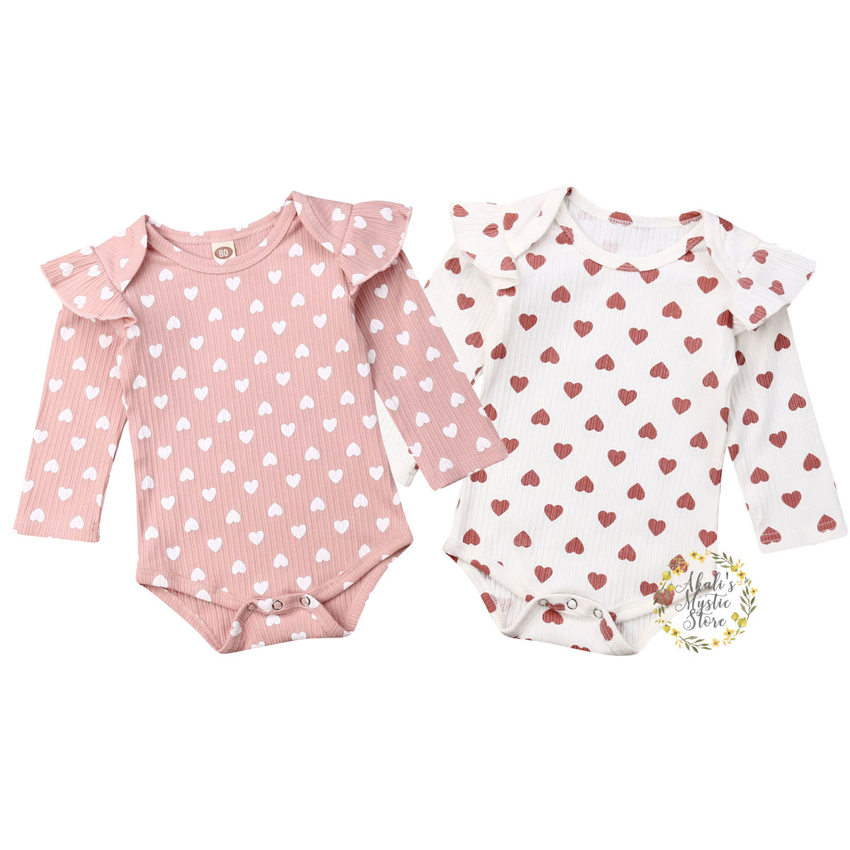 0-18M Newborn Infant Baby Girls Knitted Ruffles   Romper   Long Sleeve Cute Heart Print Jumpsuit Autumn Spring Baby Girl Costumes