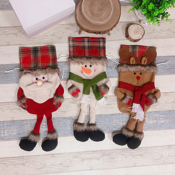 New 3pcs/set Christmas Decoration Drawstring Candy Bags Santa Reindeer Snowman Toy Gift Navidad 2018 Christmas Decorations for H