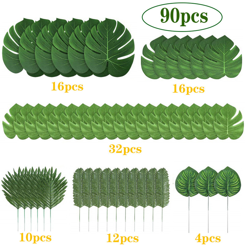 how to decorate with tropical colors home decor ideas.htm 90pcs set artificial tropical palm leaves for hawaiian luau theme  artificial tropical palm leaves