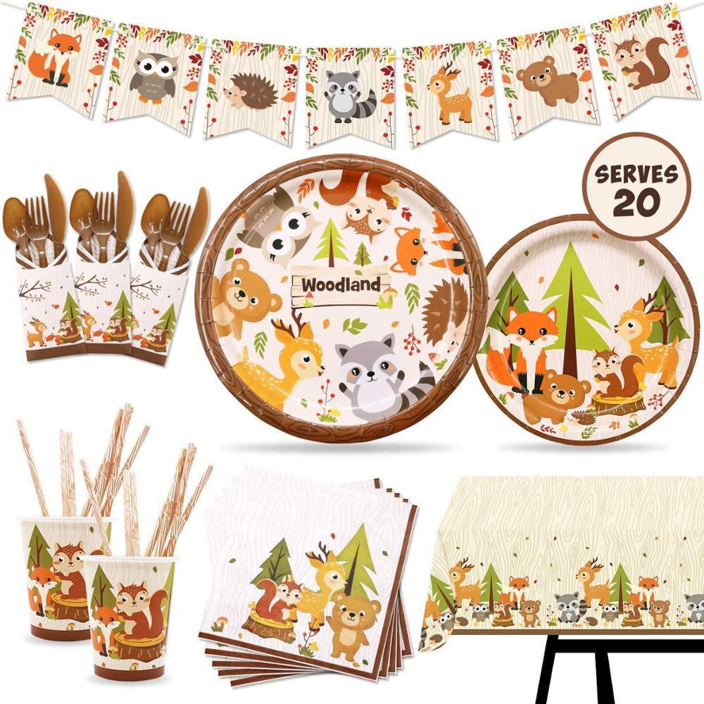 Fox Hedgehog Animals Birthday DIY Party Decoration Kids Forest Tableware Safari Birthday Party Supplies Baby Shower Table Decor