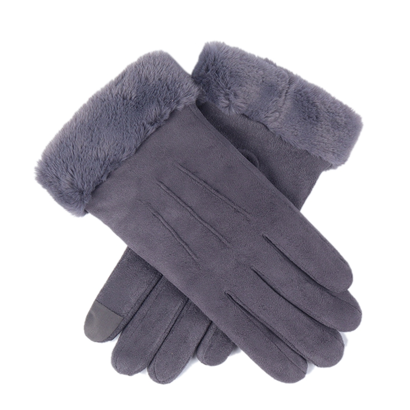 Winter Female Double Thick Plush Wrist Warm Cashmere Cute Cycling Mittens Women Suede Leather Touch-Screen Driving Glove