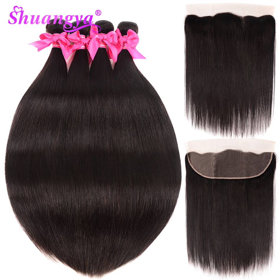 Shuangya Peruvian Straight Human Hair 3 4 Bundles With Frontal Pre Plucked 13 4 Lace Frontal