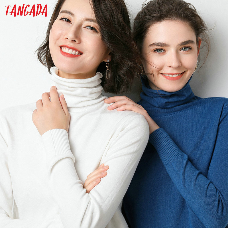 Tangada Korean Style Women Solid Turtleneck Sweater Female Long Sleeve Chic Winter Ladies Jumpers Sweater Pull Femme AQJ20