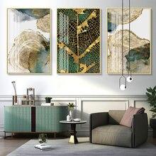 Abstrato moderno ouro verde folha trilha anel anual cartaz da lona pintura da parede quadros arte imagem sala de estar quarto decoração casa