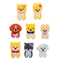 10PCS New Arrival Animal Dogs Icon PVC Flat Back Accessories Lovely Crafts For DIY Shoes Charms Jewelry Phone Case Kids Gifts(China)