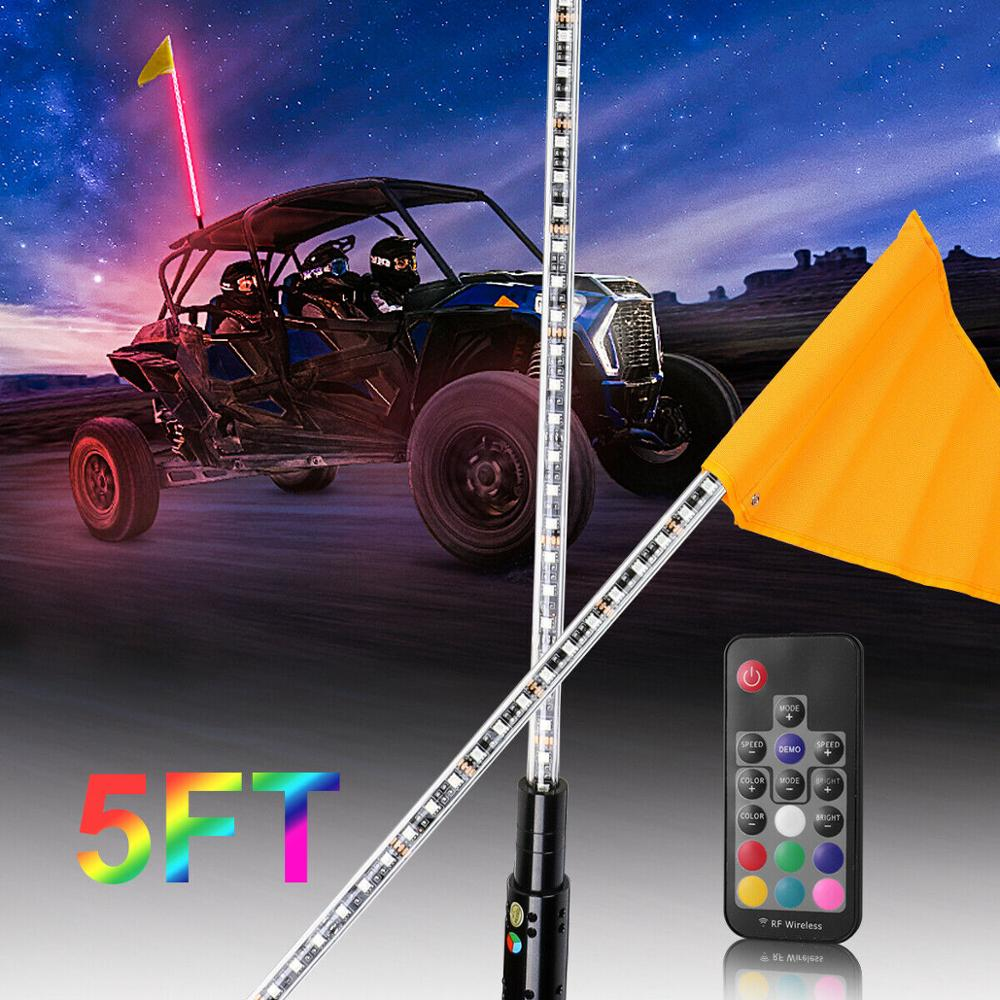 Lighted Buggy Whip Mount w// Billet Cover Wired w// RCA Plug Quick Disconnect Flag