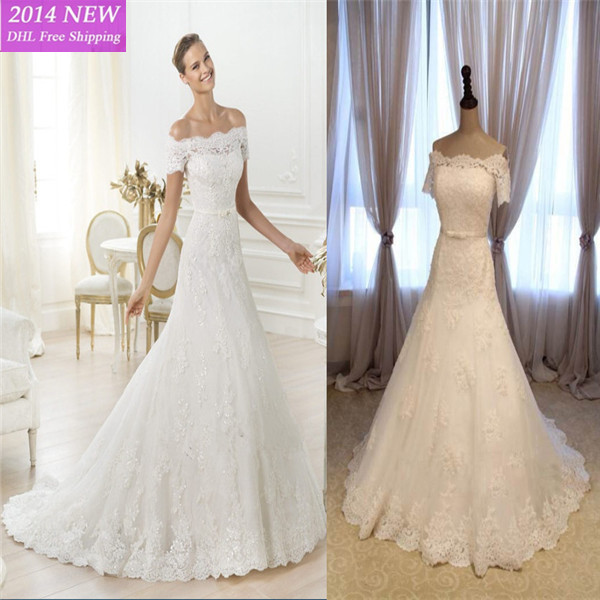 2016 Real Sample Elegant A-Line Short Sleeve With Beading Lace White Wedding Dresses Bridal Gown Custom-made UV-242