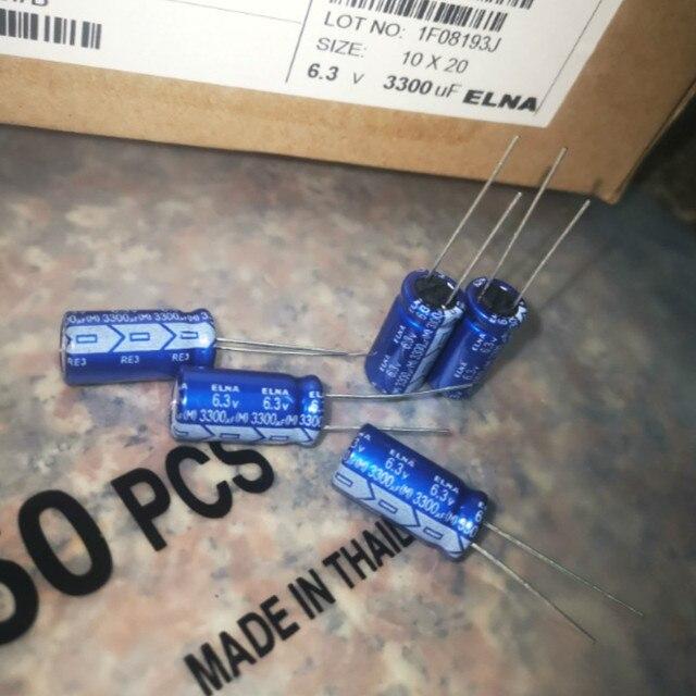 50pcs חדש ELNA RE3 6.3V3300UF 10X20MM אודיו קבל אלקטרוליטי 3300 uF/6.3 V כחול גלימה 3300UF 6.3V
