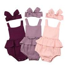 Newborn Baby Girls Cotton Romper Bodysuit Jumpsuit 2pcs Outfits Set Clothes 0-2T new baby boys girls clothes bodysuit cute child animals jumpsuit hat cap clothing outfits 2pcs set