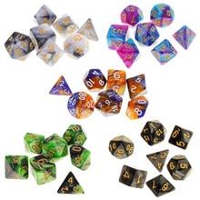 7 шт многогранные кости двухцветные многогранные игровые кости для ролевых игр Подземелья и Драконы DND RPG MTG D20 D12 D10 D8 D6 D4 настольная игра