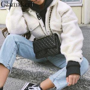 Image 2 - Женская короткая плюшевая куртка Glamaker, Белая теплая УКОРОЧЕННАЯ МЕХОВАЯ КУРТКА с искусственным мехом и карманами, осенняя уличная одежда, черное пальто