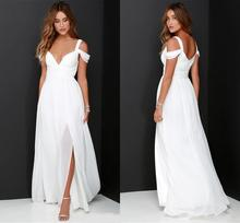 Hot Slae Split Chiffon Beach Wedding Dresses 2020 Cheap Floor Length Off Shoulder White Ruched Backless Garden Bridal Gowns