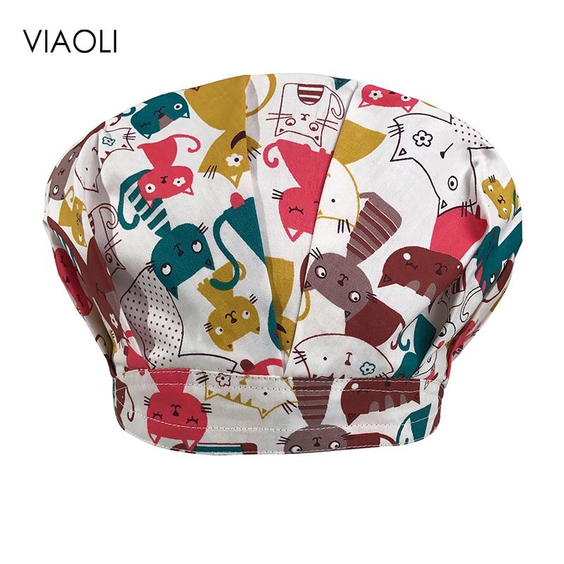 VIAOLI Print Black Tieback Elastic Section 100% Cotton Surgical Caps Scrub Caps For Men Women Hospital Medical Hats Arrival 161